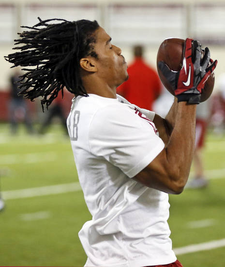 Dominique Whaley catches a pass during OU Pro Day, showcasing players' abilities for NFL football scouts, at the Everest Indoor Training Center on the campus of the University of Oklahoma in Norman, Okla., Wednesday, March 13, 2013. Photo by Nate Billings, The Oklahoman