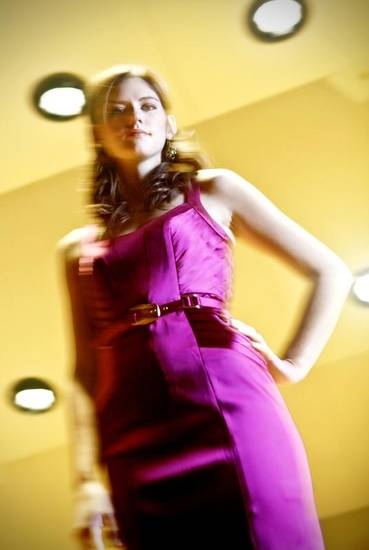 Laundry plum satin dress with pleating from C/K & Co.  Photo by Chris Landsberger, The Oklahoman.