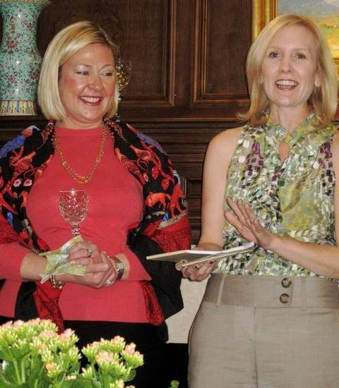 BEAUX ARTS BALL....Co-Chairman Bebe Bolen and Chairman Connell Branan  have fun at their first committee meeting. (Photo by Helen Ford  Wallace).