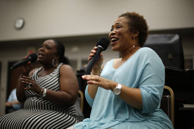 Myra Beasley and Chandra Graham rehearse with Matt Stansberry and the Romance at Oklahoma Christian University. Photo by Garett Fisbeck, For The Oklahoman  <strong>Garett Fisbeck -  Garett Fisbeck </strong>