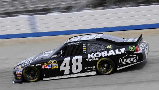 Jimmie Johnson drives during practice for the NASCAR Sprint Cup Series auto race, Friday, Sept. 28, 2012, in Dover, Del. (AP Photo/Nick Wass)