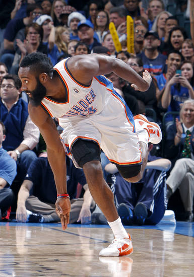Oklahoma City Thunder's James Harden (13) celebrates a 3-point shot during the opening day NBA basketball game between the Oklahoma CIty Thunder and the Orlando Magic at Chesapeake Energy Arena in Oklahoma City, Sunday, Dec. 25, 2011. Photo by Sarah Phipps, The Oklahoman