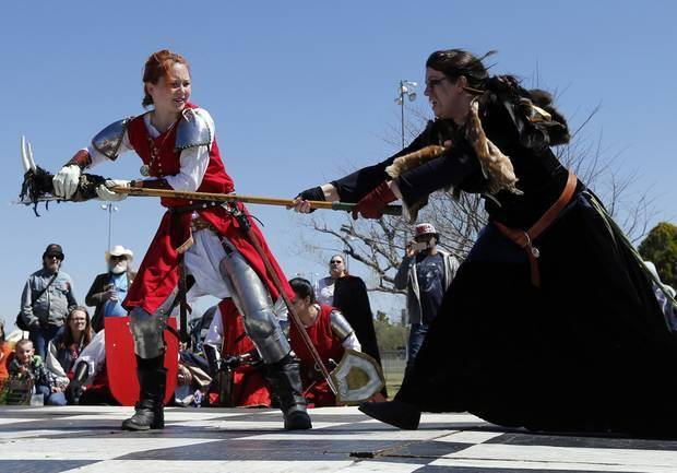 Combatants on the human chessboard fight at the Medieval Fair at Reaves Park on Friday, April 4, 2014 in Norman, Okla.. Photo by Steve Sisney, The Oklahoman