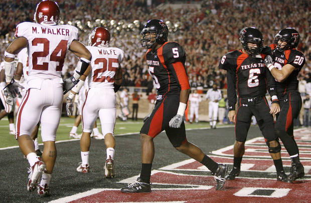 Texas Tech's Michael Crabtree celebrates after a touchdown catch against Oklahoma in 2007. The Sooners have lost their last three games at Texas Tech. PHOTO BY BRYAN TERRY., THE OKLAHOMAN