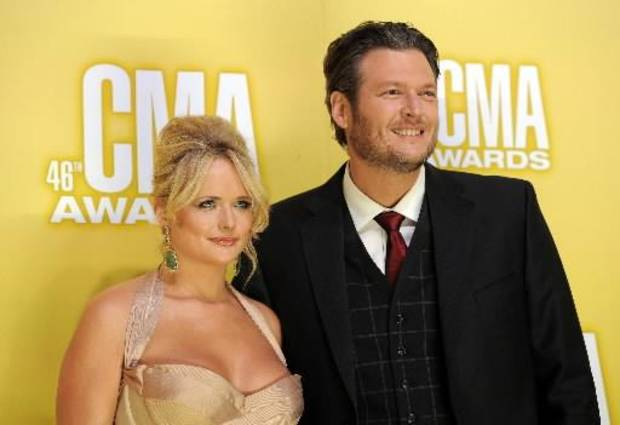 Tishomingo couple Miranda Lambert and Blake Shelton appear at the 2012 CMA Awards. (AP file)