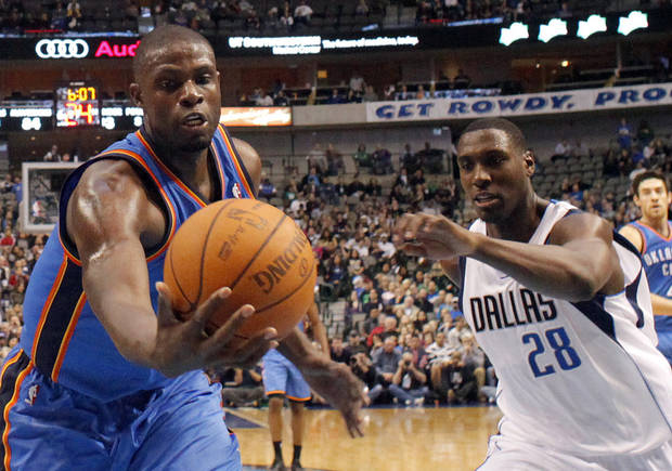 during the pre season NBA game between the Dallas Mavericks and the Oklahoma City Thunder at the American Airlines Center in Dallas, Sunday, Dec. 18, 2011. Photo by Sarah Phipps, The Oklahoman