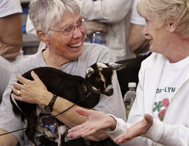 Mary Segal of Clinton talks with another woman while holding a friend's Nigerian Dwarf goat while that friend is showing another goat during judging at the Oklahoma State Fair on Wednesday, Sep. 19, 2012.  Photo by Jim Beckel, The Oklahoman.