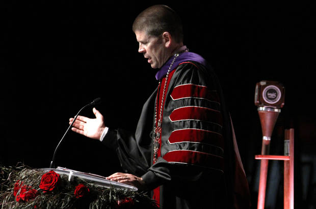 John deSteiguer, President of Oklahoma Christian University gives his presidential address to attendees of his inauguration in Oklahoma City, Monday August 27, 2012. Photo By Steve Gooch, The Oklahoman