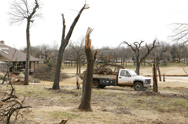 This area in front of the clubhouse at Oak Tree Golf and Country Club in Edmond, OK, Thursday, Feb. 12, 2009 was heavily damaged by the tornado which came through on Feb. 10, 2009. BY PAUL HELLSTERN, THE OKLAHOMAN