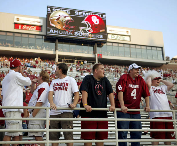 Fans watch prior to a college football game between the University of Oklahoma (OU) and Florida State (FSU) at Doak Campbell Stadium in Tallahassee, Fla., Saturday, Sept. 17, 2011. Photo by Bryan Terry, The Oklahoman