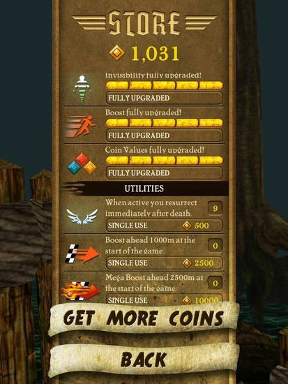 Coins collected as the hero runs in the mobile application game &quot;Temple Run&quot; can earn extra power ups, as shown in this screen shot.