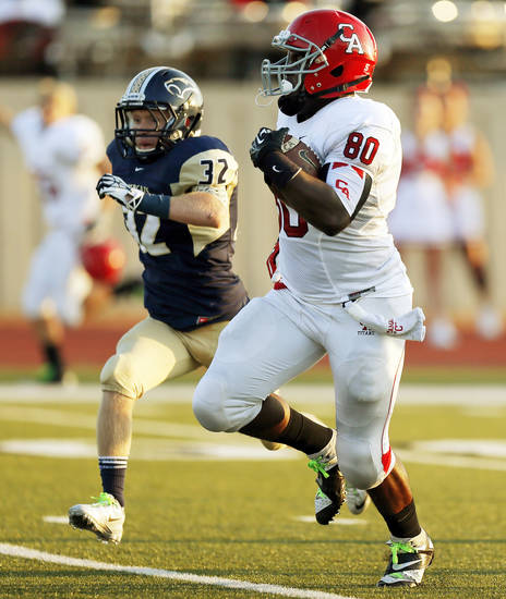 during a high school football game between Southmoore and Carl Albert at Moore Schools Stadium in Moore, Okla., Thursday, Sept. 5, 2013.  Photo by Nate Billings, The Oklahoman