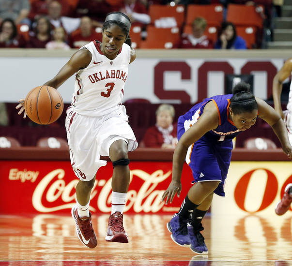 Oklahoma junior Aaryn Ellenberg records one of her six steals in Thursday's 96-35 win over Northwestern State (La.). PHOTO BY STEVE SISNEY, THE OKLAHOMAN