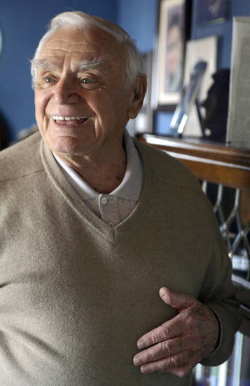 Actor Ernest Borgnine is photographed at his home near Coldwater Canyon in Beverly Hills, Calif. Wednesday, Jan. 17, 2007. His 90th birthday is on Wednesday, January 24.(AP Photo/Damian Dovarganes) ORG XMIT: LA303