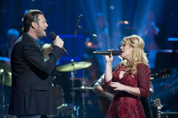 "Oklahoma country music superstar Blake Shelton and Kelly Clarkson will perform a yuletide duet on ""Blake Shelton's Not-So-Family Christmas,"" airing Monday night on NBC. Photo by Lewis Jacobs/NBC <strong>NBC - Lewis Jacobs/NBC</strong>"