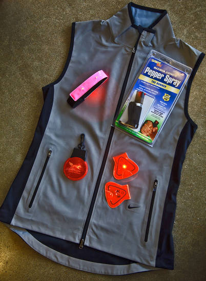 Safety is an important factor to consider when running, especially when running alone. Here are a few items sold at Red Coyote to help keep you safe while running.   The one-of-a-kind Nike Flash Vest  is made entirely of reflective material for ultimate visibility;  the entire vest reflects light. It is similar to the jackets worn by U.S. Olympians on podium last summer.   Amphipod Vizlet LED Reflectors   2-Pack contains reflective magnetic clips that can be clipped to hat, jacket or shoe.  They are fully reflective and have LED light in each triangle. They come in 3 colors: pink, orange and yellow.  Amphipod Micro-Light Flashing Armband is a  fully reflective velcro band with LED lights that can be worn around arm or ankle for 360-degree  visibility.  Red Coyote Blinking Light is a basic  flashing light that offers visibility and can be clipped to jacket or pant.    <strong>CHRIS LANDSBERGER</strong>