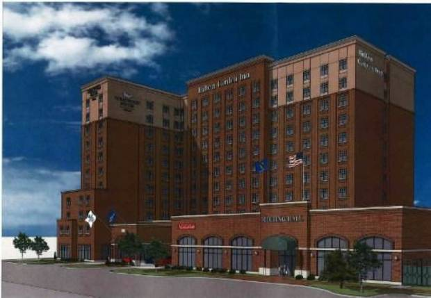 The 11-story Hilton Garden Inn/Homeward Suites hotels are shown in this drawing. DRAWING PROVIDED