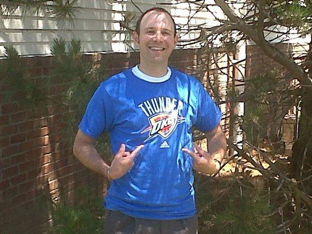 Cleveland resident Jon Harris shows off his Thunder gear during the 2012 NBA Finals. The Oklahoma City team has gained a following in northeastern Ohio, where basketball fans remain bitter over their treatment by LeBron James. <strong>Provided - Provided</strong>