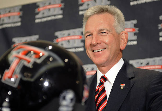 Texas Tech coach Tommy Tuberville answers questions from the media during a news conference at the Big 12 Football Media Day Tuesday, July 27, 2010, in Irving, Texas. (AP Photo/Cody Duty) ORG XMIT: TXCD109