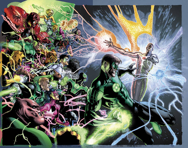 The image provided by DC Entertainment shows the illustration for the cover of &quot;Green Lantern&quot; No. 20, due out in May, which is the last issue written by Geoff Johns. He is leaving the book after nearly nine years of writing Green Lantern titles to focus on DC Entertainment's family of Justice League titles and Aquaman, too. (AP Photo/DC Entertainment) ORG XMIT: NY129