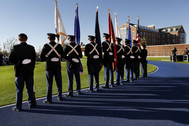 The University of Oklahoma ROTC Color Guard participated in the ceremony. About 200 employees at Chesapeake Energy received commemorative coins during a Veterans Day ceremony Monday afternoon, Nov. 12, 2012, on the company&#039;s campus in northwest Oklahoma City. The employees were recognized for their military service to the nation. Keynote speaker was Maj. Gen. Rita Aragon (ret.),  who is Oklahoma secretary of military and veterans affairs.  A company spokesperson said a total of nearly 1200 employees will receive the coin and be commended for military service.   Photo by Jim Beckel, The Oklahoman