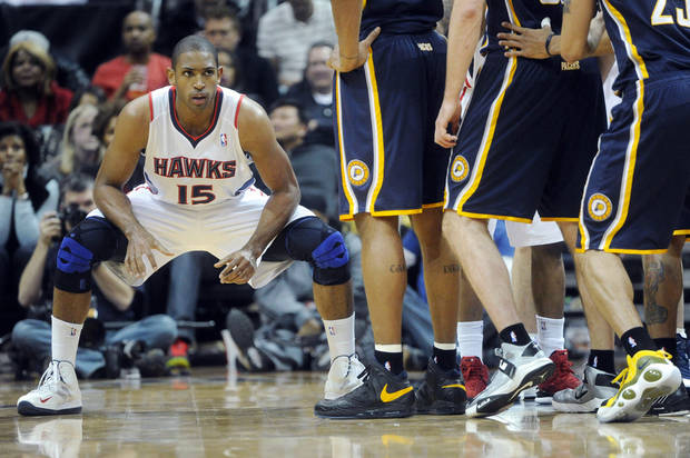 Atlanta Hawks center Al Horford (15) prepares for an inbound pass as Indiana Pacers line up during the second half of an NBA basketball game on Saturday, Dec. 29, 2012, at Philips Arena in Atlanta. Atlanta won 109-100. (AP Photo/John Amis)