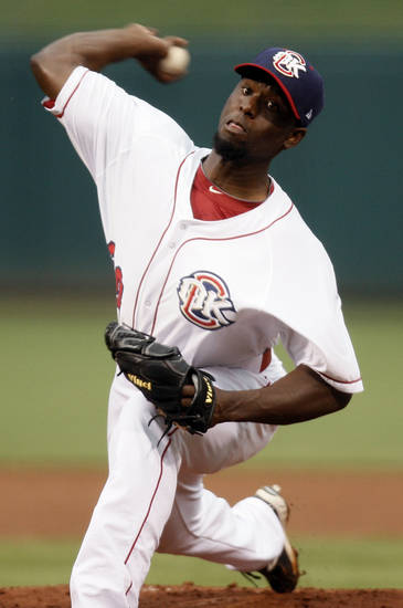 Henry Sosa (30) pitches for Oklahoma City during the baseball game between the Oklahoma City RedHawks and the Nashville Sounds at the Chickasaw Bricktown Ballpark, in Oklahoma City, Monday, April 9, 2012. Photo by Nate Billings, The Oklahoman