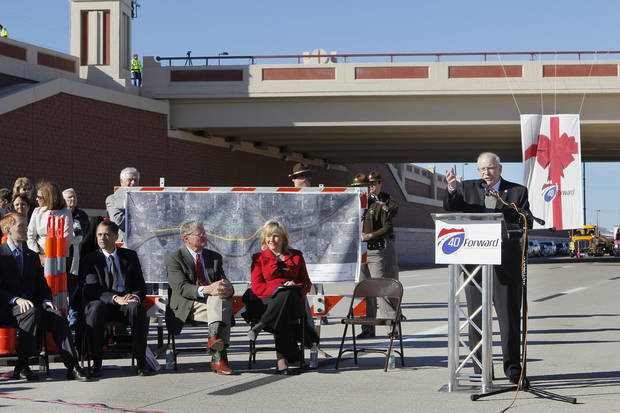 Gary Ridley, Oklahoma Secretary of Transportation, speaking during grand opening ceremonies for the east bound lanes of the I-40 Crosstown in Oklahoma City Thursday, Jan. 5, 2012. In the background is the Western Ave. bridge. Photo by Paul B. Southerland, The Oklahoman