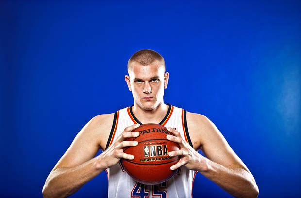 NBA BASKETBALL TEAM:  COLE ALDRICH poses for a photo during the Oklahoma City Thunder media day on Monday, Sept. 27, 2010, in Oklahoma City, Okla.   Photo by Chris Landsberger, The Oklahoman ORG XMIT: KOD