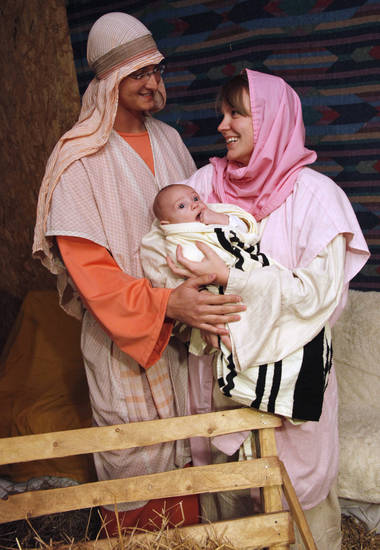 "Brandon Croy and his wife Alena and their child Ayden will be Joseph, Mary and the baby Jesus during Forest Hill Christian Church's presentation ""Journey to Bethlehem"" during the Christmas season. Photo Wednesday, November 16, 2011. Photo by Doug Hoke, The Oklahoman"