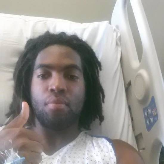 Oklahoma freshman defensive end D.J. Ward tweeted this picture from his hospital bed after undergoing a splenectomy Tuesday morning.