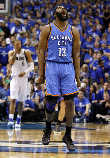 Oklahoma City's James Harden (13) reacts after making a basket during game 2 of the Western Conference Finals in the NBA basketball playoffs between the Dallas Mavericks and the Oklahoma City Thunder at American Airlines Center in Dallas, Thursday, May 19, 2011. Photo by Bryan Terry, The Oklahoman