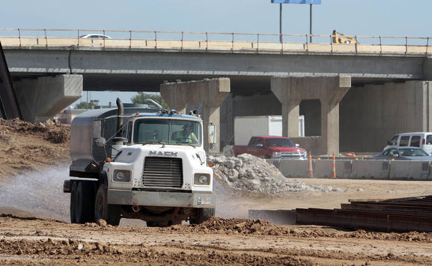 Work continues on the Main Street overpass at Interstate 35 on Wednesday, Aug. 28, 2013 in Norman, Okla.  Photo by Steve Sisney, The Oklahoman