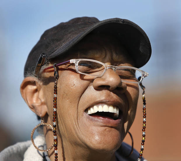 Rosalind Butler smiles after walking out of Oakdale Baptist Church at Hefner and Sooner Road, having voted in Precinct 108 for the Oklahoma City Council Ward 7 election on Tuesday, March 5, 2013.  Photo by Jim Beckel, The Oklahoman
