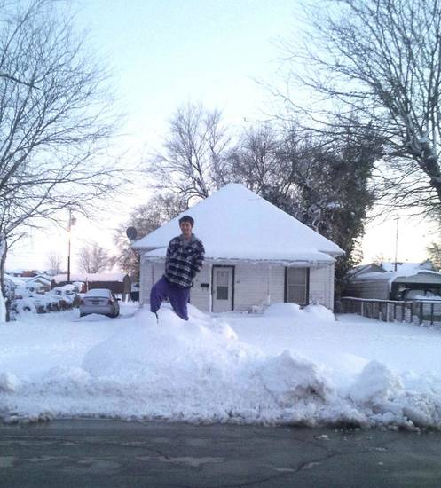 Becky Burke and her fiance were stuck in their home in Alva, which received 15 inches of snow Monday evening when a blizzard blew through the northwest part of the state. Photo provided by Becky Burke