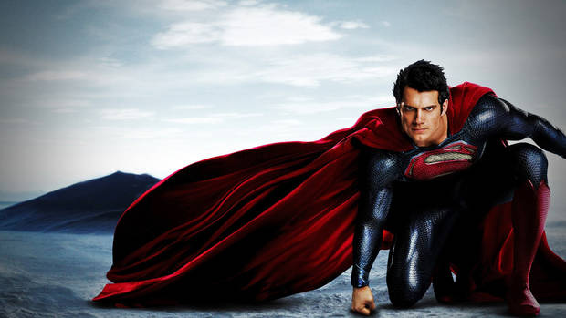 "Henry Cavill as Superman in the movie ""Man of Steel."""