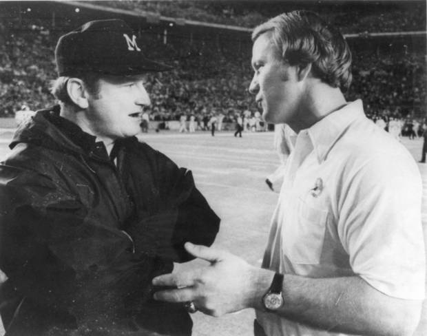 <strong>1976: Barry and Bo</strong><br>  In this photo from the 1976 Orange Bowl, Switzer and Michigan coach Bo Schembechler talk before the game. OKLAHOMAN ARCHIVE PHOTO