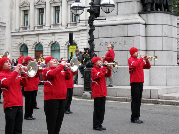 The Edmond All City Band performs in a parade in London on New Year's Day 2012. Photo by Don Mecoy, The Oklahoman.