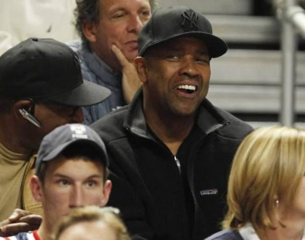 Denzel Washington attended a Penn State basketball game to watch his son (AP Photo/Carolyn Kaster)