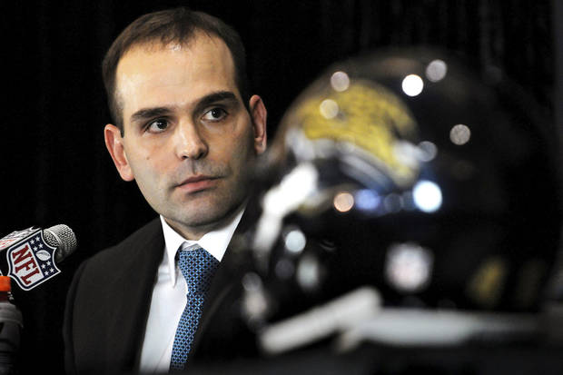 New Jacksonville Jaguars general manager David Caldwell appears at an NFL football news conference, Thursday, Jan. 10, 2013, in Jacksonville, Fla. Caldwell signed a five-year deal to replace fired general manager Gene Smith, and was introduced on the same day the team fired head coach Mike Mularkey after just one season, the worst in franchise history. (AP Photo/The Florida Times-Union, Bruce Lipsky)