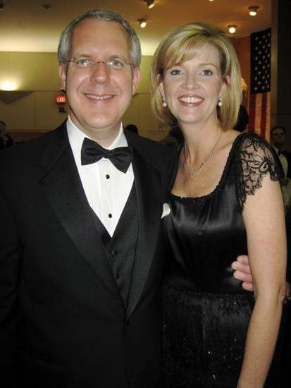 FIRST LADIES GALA....Gov. Brad Henry and Kim Henry enjoy the party. (Photo by Helen Ford Wallace).