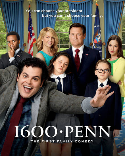 "1600 PENN -- Season: 1 -- ""1600 Penn"" Key Art, Pictured: (l-r) Andre Holland as Marshall Malloy, Josh Gad as Skip, Jenna Elfman as Emily, Amara Miller as Marigold, Bill Pullman as Dale, Benjamin Stockham as Xander, Martha MacIsaac as Becca -- (Photo by: Chris Haston/NBC)"