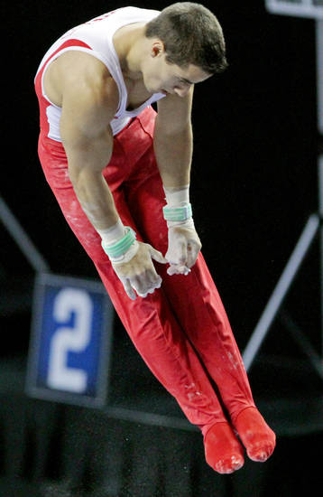 The University of Oklahoma's Jake Dalton competes in the high bar at the event finals of the men's NCAA Men's Gymnastics Championships at the Lloyd Noble Center on Saturday, April 21, 2012, in Norman, Okla.  Photo by Steve Sisney, The Oklahoman