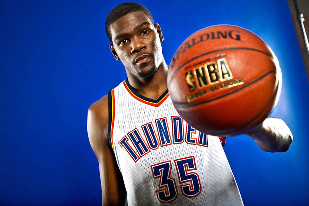 KEVIN DURANT poses for a photo during the Oklahoma City Thunder media day on Monday, Sept. 27, 2010, in Oklahoma City, Okla.   Photo by Chris Landsberger, The Oklahoman