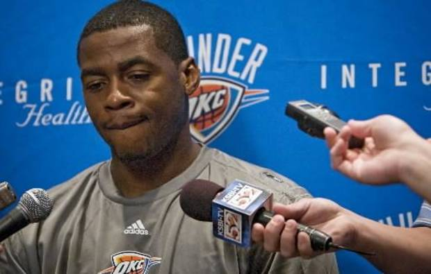 Oklahoma City Thunder's  Desmond  Mason talks to the media during the team's exit interviews on Thursday, April 16, 2009, in Oklahoma City, Okla. Photo by Chris Landsberger