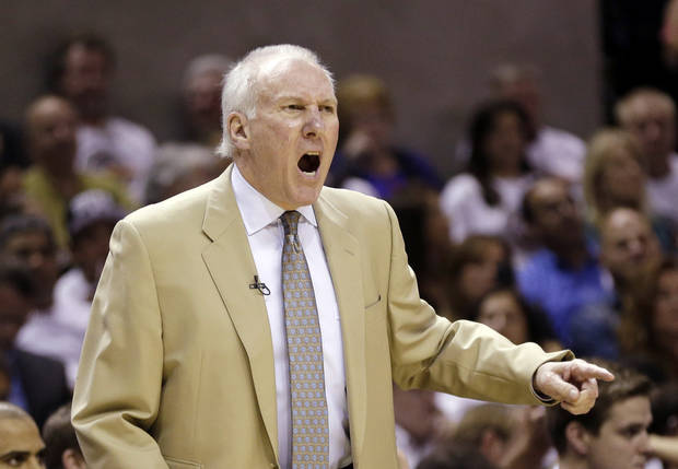 San Antonio Spurs coach Gregg Popovich shouts instruction to this players during the first quarter of an NBA basketball game against the San Antonio Spurs, Thursday, Nov. 1, 2012, in San Antonio. (AP Photo/Eric Gay) ORG XMIT: TXEG103