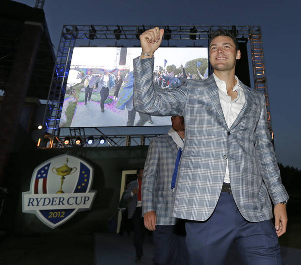 Europe's Martin Kaymer arrives at the closing ceremony for the Ryder Cup PGA golf tournament Sunday, Sept. 30, 2012, at the Medinah Country Club in Medinah, Ill. (AP Photo/David J. Phillip)  ORG XMIT: PGA245