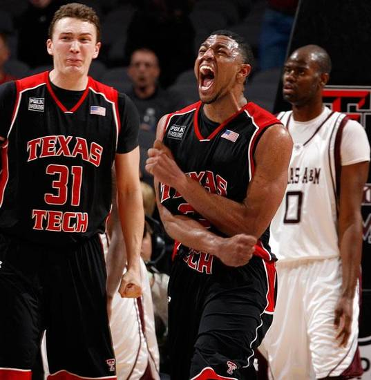 Texas Tech's Mike Singletary (32), middle, and Darko Cohadarevic (31) react after a play in front of Bryan Davis (0) of Texas A&amp;M in the second half of the opening round game between Texas Tech and Texas A&amp;M during the Big 12 Men's Basketball Championship at the Ford Center in Oklahoma City, Wednesday, March 11, 2009. Texas Tech won, 88-83. PHOTO BY NATE BILLINGS, THE OKLAHOMAN
