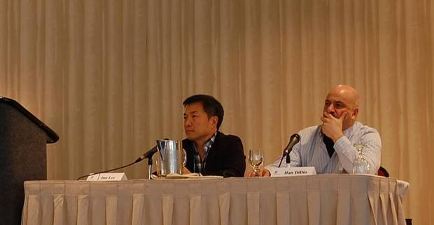 DC Entertainment�s Jim Lee, left, and Dan Didio listen to retailer questions at the ComicsPRO Annual Members Meeting. PhotoS by Annette Price, for The Oklahoman