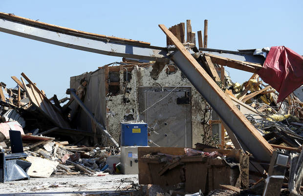 TORNADO DAMAGE / TORNADO AFTERMATH / INTERSTATE 35: The vault at Tinker Federal Credit Union near I-35 in Moore, Okla., is pictured Tuesday, May 21, 2013. Photo by Sarah Phipps, The Oklahoman